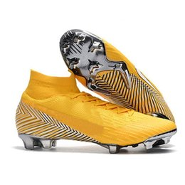mens elite shoes UK - Ronaldo Cleats Mens Soccer Original Mercurial Superfly VI 360 Elite Neymar FG Steel Spikes Soccer Shoes High Ankle Football Boots