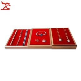 $enCountryForm.capitalKeyWord Australia - New Fashion Red Velvet Ring Earring Necklace Bracelet Storage Organizer Tray Rectangle Rose Gold Stainless Steel Jewelry Display Case