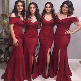 China Cheap Mermaid Burgundy Bridesmaid Dress 2019 Wedding Guest Dresses Off the Shoulder Prom Gowns 2019 Navy Blue Evening Dress supplier prom dress short front long train suppliers
