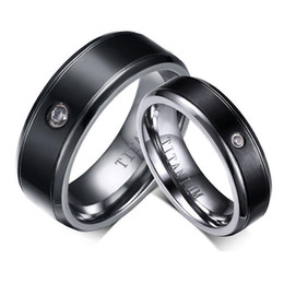 matching heart rings NZ - His Her Matching Set Black Polishing Titanium Steel Wedding Band Rings Smooth Finish Anniversary Gift