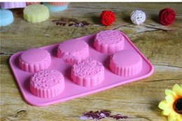 Soap can online shopping - Pink silicone Soap Molds Six Grooves Circular Cake Mould Biscuits Baking Appliance Manual DIY Can Put Oven qtC1
