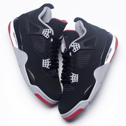 ShoeS releaSe online shopping - 4 Bred Black red New released TOP Factory Version s Basketball Shoes mens trainers suede Sneakers with Box