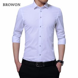 Formal Shirts Gray Color Australia - Browon Business Shirt Men Smart Casual Shirt Embroidered Collar Long Sleeve Solid Color Men Formal Shirt Camisa Masculina Y190506