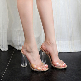 $enCountryForm.capitalKeyWord Australia - Sunshine2019 Woman Winter Year Sandals Transparent Adhesive Piece Crystal With Hasp High-heeled Will Open-toed Fish Mouth Women's Shoes