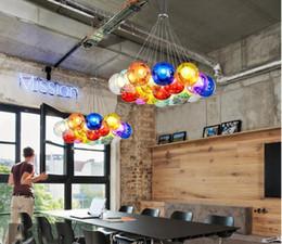 Glass Light Switch Covers NZ - Creative Color Glass Ball Bubble Pendant Light Double Cover Glass Ball Hang Lamp Kitchen Restaurant Girl Room Decor Lighting