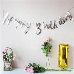 home birthday supplies Australia - Home Decor Happy Birthday Banner Bunting Hanging Gold Silver Garland Cake Party