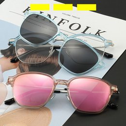 stylish sunglasses for men 2019 - Rectangle Stylish Non-prescription Optical Women Eyewear Frame With Clear Lens Clip On Polarized Sunglasses For Driving