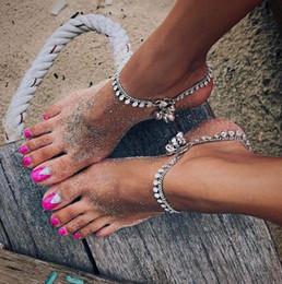 $enCountryForm.capitalKeyWord Canada - Vintage Silver Jingle Bell Payal Anklets Bracelet Women Chenille Barefoot Sandals Foot Chain Tribal Boho Bellydance Jewelry