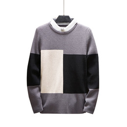 false two sweaters Australia - Men Round Neck Pullover Knitted Jumper Patchwork Contrast Color Casual Sweater False Two Pieces 3XL Plus Size Knitwear Sweater