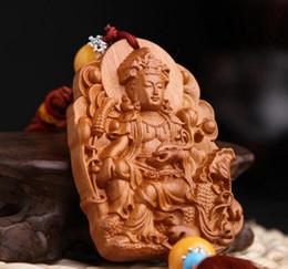 $enCountryForm.capitalKeyWord Australia - Chinese Peach Wood Carving Lotus Leaf Guan Yin Kwan-yin Bodhisattva Riding Dragon Exquisite Car Key Pendant Bag Pendant