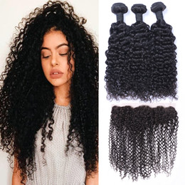 Ombre jerry hair online shopping - Brazilian Jerry Curly Human Hair Wefts with x4 Lace Frontal Ear to Ear Full Head Natural Color Can be Dyed Unprocessed Human Hair