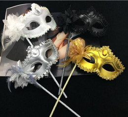 Wholesale new sexy film for sale – custom NEW Luxury Diamond Woman Mask Stick Sexy Eyeline Venetian Masquerade Party Mask Sequin Lace Edge Lateral Flower Gold Silver Black White