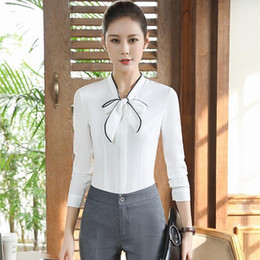 $enCountryForm.capitalKeyWord Australia - Novelty White Long Sleeve Formal Pantsuits With 2 Piece Blouses And Pants Professional Business Suits Women Work Wear Outfits