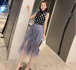 $enCountryForm.capitalKeyWord Australia - Happy Independence Day Holiday gift ins new hot summer Hign-End wholesale Lapel neck Sleeveless Polka dot top+Muslin Skirt suit