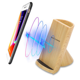 Phone vases online shopping - Universal Wooden Texture Pencil Vase Pen Holder Fast Charging Wireless Qi Charger Stand Dock For iPhone Mobile Phone Chargers