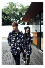 $enCountryForm.capitalKeyWord NZ - Blue Camouflage Man Cotton Padded Jacket Zipper Fly With Pocket Woman Winter Top Couples Matching Clothes