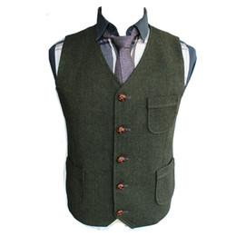 Slim Suits Sale Australia - 2019 Hot Sale High Quality Green Wool Tweed Vests For Wedding Custom Made Formal Groom's Suit Vest Slim Fit Waistcoat For Men Plus Size