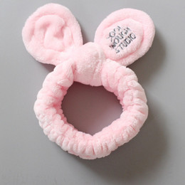 $enCountryForm.capitalKeyWord Australia - Girls Soft Scrunchies Sweet Coral Fleece Headband Crossed Bunny Ear Elastic Hair Bands Women Hair Accessories For Wash Face