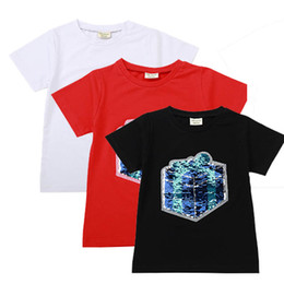 Tee gifT online shopping - Kids Designer Clothes Girls Embroidery Dinosaur Gift Box Short Sleeve Round Neck Top Cotton Solid Color Thin Discoloration Change Face Tees