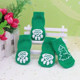 cute cat ornaments Australia - Cute Christmas Dog Cat Shoes Anti-slip Puppy Socks For Christmas Warm Dogs Knit Socks Snowflake Print Cats Dogs Shoes Boots