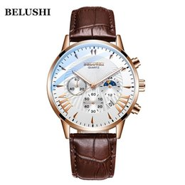 wrist watch buckle Canada - Mens Watches Top Brand Luxury Belushi Military Watches Mens Sports Quartz Wrist Watch Waterproof Leather Male Clock Reloj Hombre Y19052103
