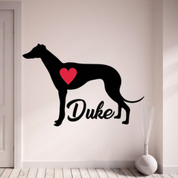 $enCountryForm.capitalKeyWord Australia - Greyhound Wall Decal Personalize With Your Dog's Name Wall Stickers Pet Dogs Home Decor With Red Heart Living Room