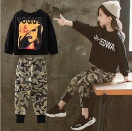 korean printed t shirt Canada - Korean Style Girls Ins Clothing Letter Printed Casual Loose Set Long Sleeve T-shirt And Pants 2 Pieces Set Kids Camouflage Cotton Set