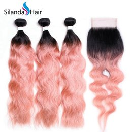 Rose Remy Australia - Silanda Hair #T 1B Rose Gold Ombre Color Natural Wave Brazilian Remy Human Hair Weft 3 Weaves Bundles With 4X4 Lace Closure Free Shipping