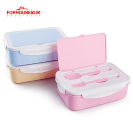 Glasses rack online shopping - 1400ml Microwavable Japanese Lunch Box Food Storage Container Bento With Spoons Chopsticks For Kids Children C19041601