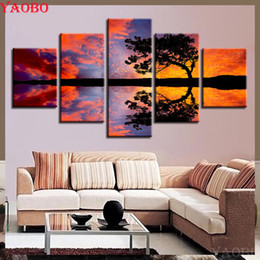 Discount diamond painting tree - 5 pcs Sunset Seascape Tree 5D DIY Diamond Painting Square Diamond Embroidery Full display 3D Picture Of Rhinestone Decor