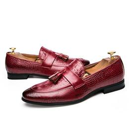 Italian Office Shoes Designs Australia - Plus Size Fashion Mens Tassel Shoes Leather Italian Formal Snake Skin Dress Office Footwear 2019 New Design