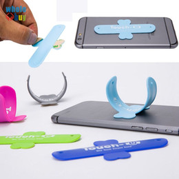 silicone phone holder mini stand UK - 100pcs lot portable Universal Mini Touch U One Touch Silicone Soft Phone Stand Ring Mount Holder For Smartphone Tablet PC