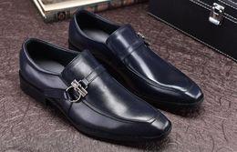 d3b245f0e15 On Hombres boda Oxfords Hombre cuero Slip de 2018 de Hebillas Oscuro  Leather Otoño Negro Dress ...