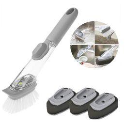 $enCountryForm.capitalKeyWord Australia - Cleaning Brush with 4 Removable Long Handle Brushes Cleaning Brush Sponge Soap Dispenser Brush Dish Kitchen Tool