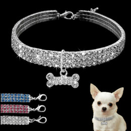 Discount leather diamante dog collars wholesale - Dog Necklace Collar Jewelry Pearls Diamante Accessory for Pet Puppy Chihuahua Neck Decor Harnesses
