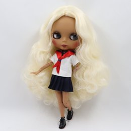 $enCountryForm.capitalKeyWord NZ - Factory blyth doll joint body matte face dark skin wavy blonde golden hair without bangs 30cm 1 6 BL340, gift for girl