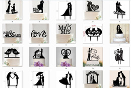 marriage party decoration NZ - Hot Cake Topper Wedding Mr Mrs Love Acrylic Black Toppers Romantic Bride Groom For Wedding Decoration Marriage Party Favors