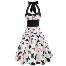 Elegant Bows Australia - Party Vintage Dress Elegant Dress A-Line Bow Strapless Sleeveless Retro Print Ladies Dresses Vestido Verano