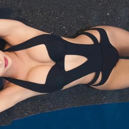 139f79389b43e Sexy Black Halter Cut Out Bandage Trikini Swim Bathing Suit Monokini Push Up  Brazilian Swimwear Women One Piece Swimsuit Q190524