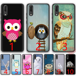 Cute Owl Phone Cases NZ - lovely cute owl Pink Funny Soft Silicone Black TPU Phone Case for Huawei P8 P9 P10 P20 Lite Pro P Smart Cover
