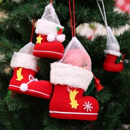 christmas gift shoes NZ - Christmas Stocking Santa Claus Boot Shoes Kids Candy Gift Bags Christmas Decorations for Home Xmas Stocking New Year Decoration