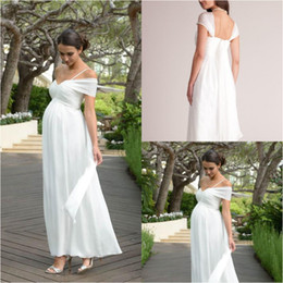 $enCountryForm.capitalKeyWord NZ - Fitted Short Maternity Wedding Dresses Ankle Length Chiffon Summer Beach Backless Bohemian Wedding Dress Plus Size vestido noiva Women 2019