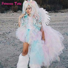 4t Rainbow Tutu Australia - Pastel Rainbow Girls Tutu Dress Unicorn Girl Birthday Party Dress Up With Headband Child Kids Princess Halloween Dress Costumes Y19061801