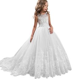 Discount dress for children 12 years - 2019 Girls Dress White Bridesmaid Kids Dresses For Girls Children Long Princess Dress Vestido Party Wedding 14 10 12 Yea