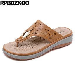 Chinese red slippers online shopping - flip flop big size platform sandals chinese beach slides brown women wedge leather plus wide fit shoes ladies slippers summer