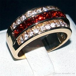 Princess cut gemstone rings online shopping - Lightyou999 Luxury Princess cut Redy Gemstone Rings Fashion KT Yellow Gold filled Wedding Band Jewelry for Men Women Size