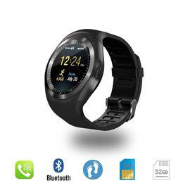 Bluetooth Smart Watch Sim Australia - Bluetooth Y1 Smart Watch Relogio Android SmartWatch Phone Call GSM Sim Remote Camera Information Display Sports Pedometer