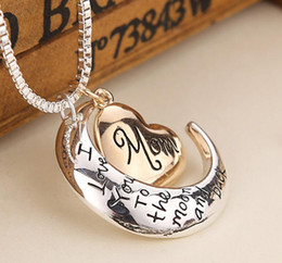 $enCountryForm.capitalKeyWord Australia - 2019 High Quality Heart Jewelry I love you to the Moon and Back Mom Pendant Necklace Mother Day Gift Wholesale Fashion Jewelry 635