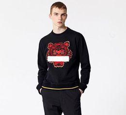 Wholesale long sleeve leather sweatshirt men online – oversize 2019 tiger Head Hoodies Mens Classic Long Sleeve Sweatshirt Designer Hoodie fashion Top Shirts Autumn Spring luxury clothing Sweater S XXL