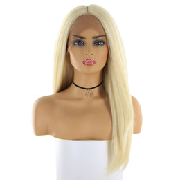 Long Hair Straight UK - 613 Blonde Synthetic Hair Wigs For Women Long Straight Swiss Lace Front Hairpiece Middle Part Trendy Cosplay Lace Wig